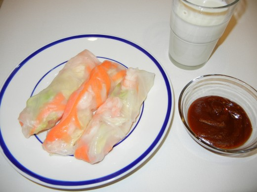 The Spring roll sauce is the combination of Hoisin sauce, peanut butter and ketchup.