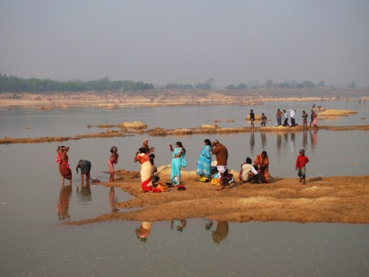 Pilgrims in Ajoy river