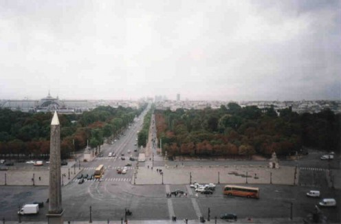 View of the Place de la Concorde and the Champs-Elysees.