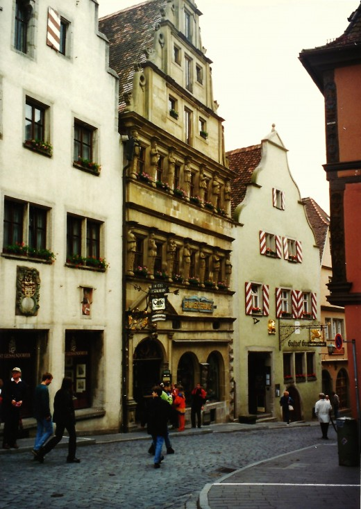 The Master Builder's House (center) in Rothenburg, Germany