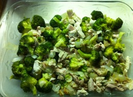 Broccoli, onion & garlic, turkey