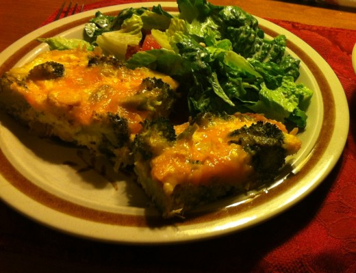 Turkey, broccoli and cheese quiche with a side Caesar salad