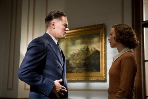 Leonardo Dicaprio as J. Edgar Hoover and Naomi Watts as Helen Gandy