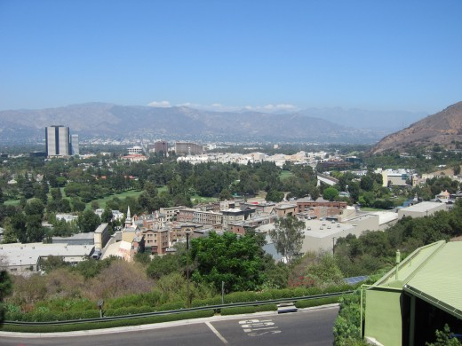 The view of Burbank from the back lot of Universal Studios.