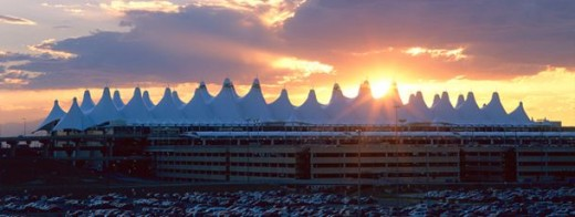 The main terminal of Denver International Airport, said to replicate the snow capped peaks of the Rocky Mountains.