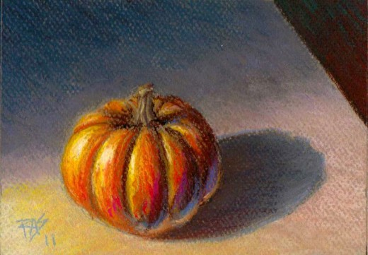 Still Life - Pumpkin, pastel on paper by Robert A. Sloan