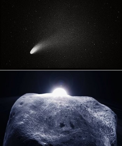 Figure 9. A typical comet and a typical shape of planetoid. Comet and planetoids, togather with meteoroids and meteors are counted as the small Solar System bodies.