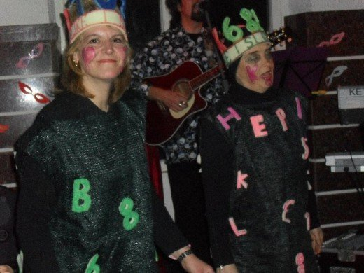 alphabet costumes at the Mardi Gras dance