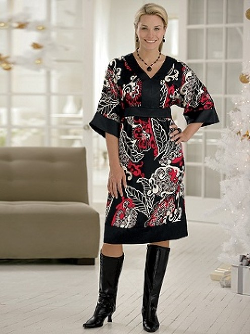 Printed Charmeuse Dress In a richly colored print that will wow them.   From: $49.99