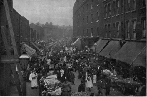 Whitechapel in the 1880s; Wentworth Road. Overcrowded with poor Irish and Jewish immigrants.