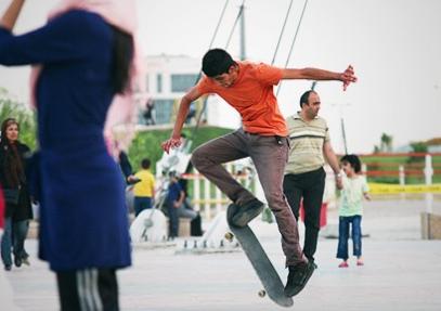 Skateboarders in Tehran park