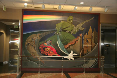 """Frame one of the mural """"Children of the World Dream of Peace"""" by artist Leo Tanguma."""