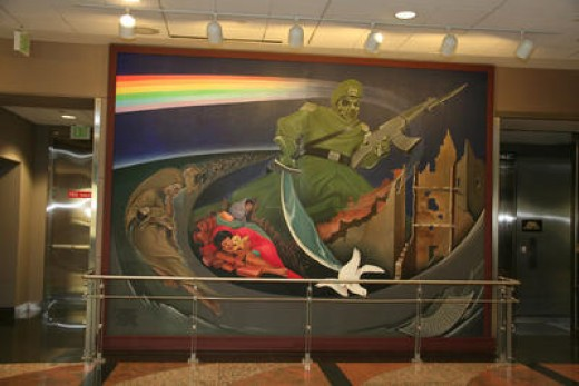 "Frame one of the mural ""Children of the World Dream of Peace"" by artist Leo Tanguma."