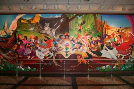 "The mural ""In Peace and Harmony with Nature"" by artist Leo Tanguma."