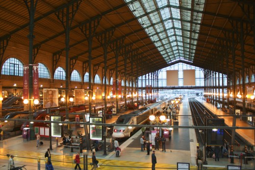 Eurostar, Thalys, and TGV sets together at Gare Du Nord