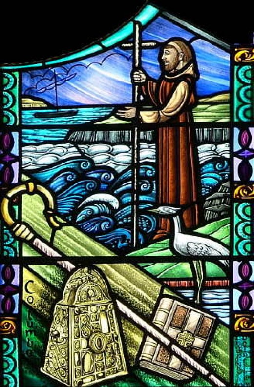 Stained glass depiction of St. Columba