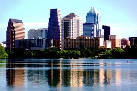Austin skyline overlooking Lady Bird Lake