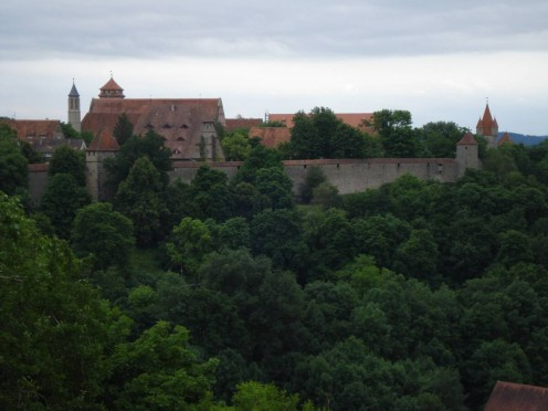 View of the old town and wall of Rothenburg ob der Tauber, Germany.