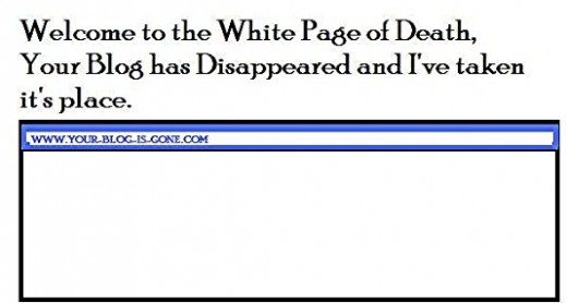 White Page of Death Humor - The actual page is a white page with your URL in the address bar, but nothing happens.
