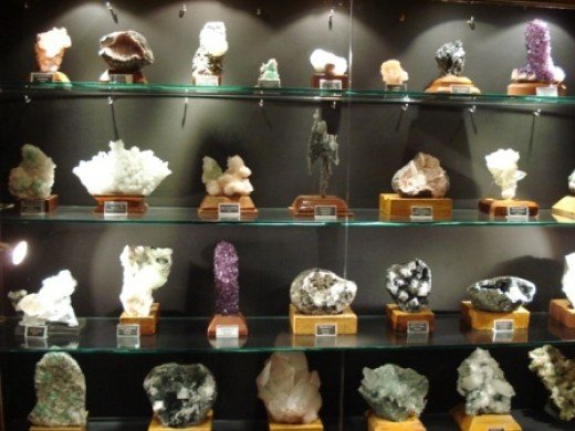 The display shelves with spectacular crystals