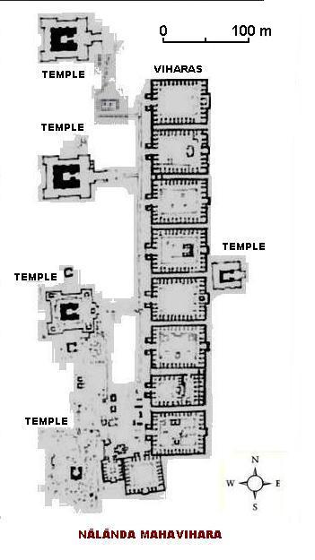 Layout of ancient Nalanda University