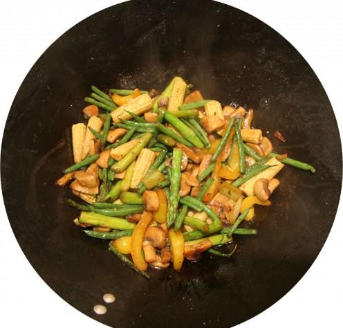 Stir-fried baby Corn and Asparagus