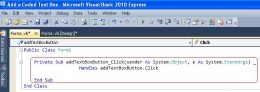 Add Text Box Code View