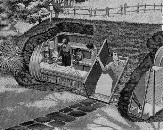 This illustration depicts a bomb shelter in the event of a nuclear attack. Interesting, nuclear attack produces EMP damage as a side effect. It a real age of EMP chaos, this is not the ideal!