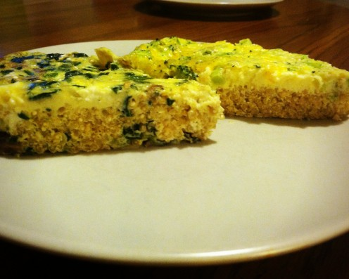 Spinach & cheddar quiche with quinoa crust