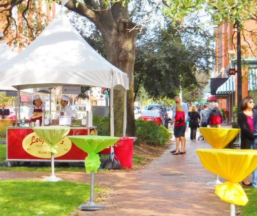 A number of vendors, such as this photo of the Leopold's Ice Cream booth, sold food from brightly colored tents that were set up throughout Telfair Square.