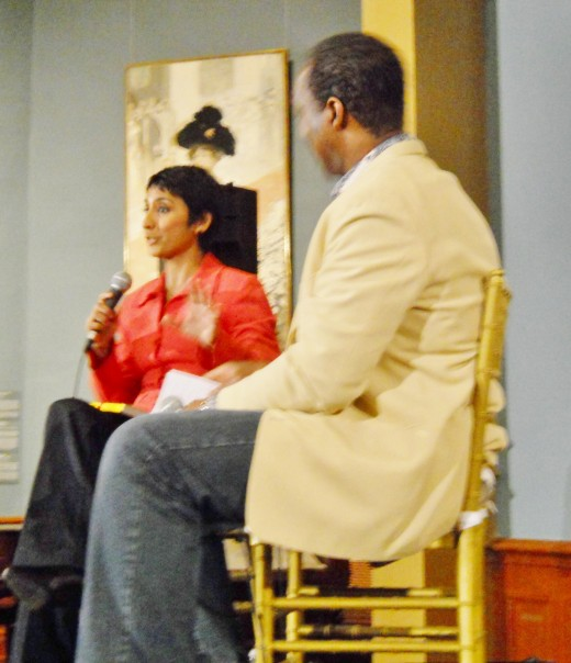 Author Irshad Manji had a lively dialog with the Rev. Ken Samuels in the Telfair Museum. The art gallery houses 19th and 20th century American and European art and was a stunning venue for this presentation.