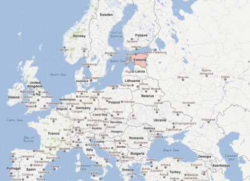 Estonia (lt. red) in European context.