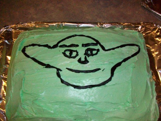 This was a very poorly drawn Yoda cake that nevertheless was delicious.