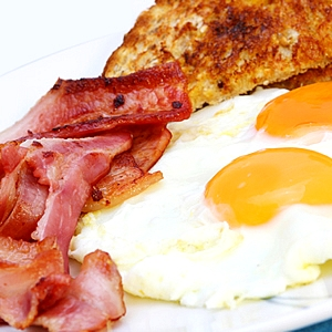 Bacon and eggs - probably the meal with the highest cholesterol level