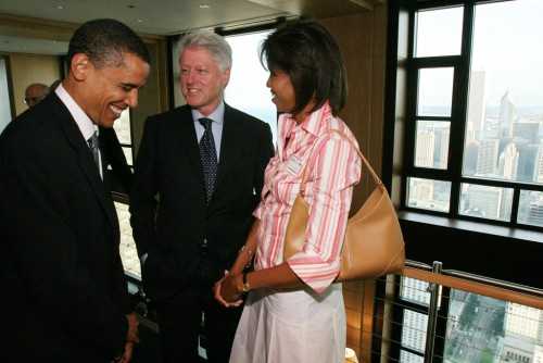 Barack Obama, Bill Clinton and Michelle Obama photo
