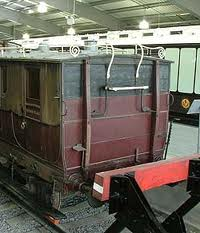 Stockton & Darlington carriage end with driver's 'perch' - early passenger workings were horse-drawn