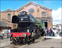 'Flying Scotsman' outside the Peter Allen building at the NRM, restored to British Railways lined Brunswick Green with German-style smoke deflectors as 60103. Hitch a ride on her at the NRM (check web site)