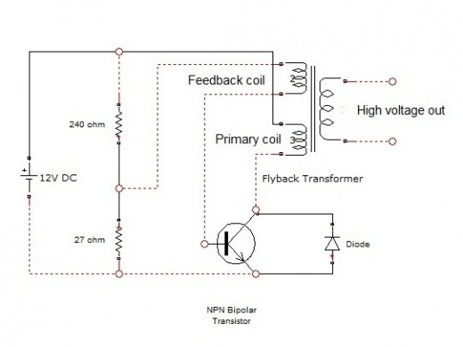 6203171_f520 how to convert 12volt dc into thousands of volts using a tv flyback transformer wiring diagram at soozxer.org