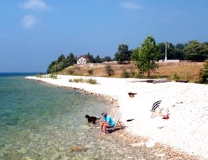 Enjoy the scenic and spacious natural rock beach on Rock Island off the northern Door County peninsula.