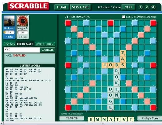 Playing Scrabble on Facebook