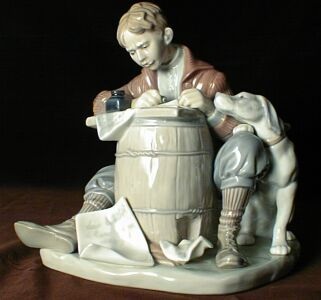 Llardo Love Letter Writer - another story teller with a brush or in this case porcelain with a dog and a small boy