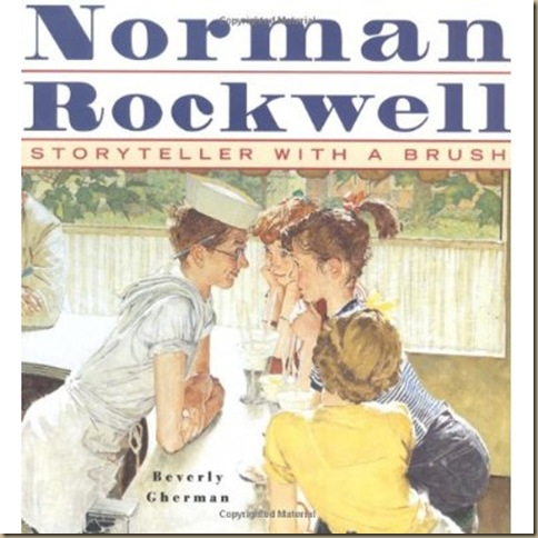Norman Rockwell the story teller with a paint brush with a painting of children