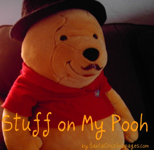 A candid photo of Pooh on his couch