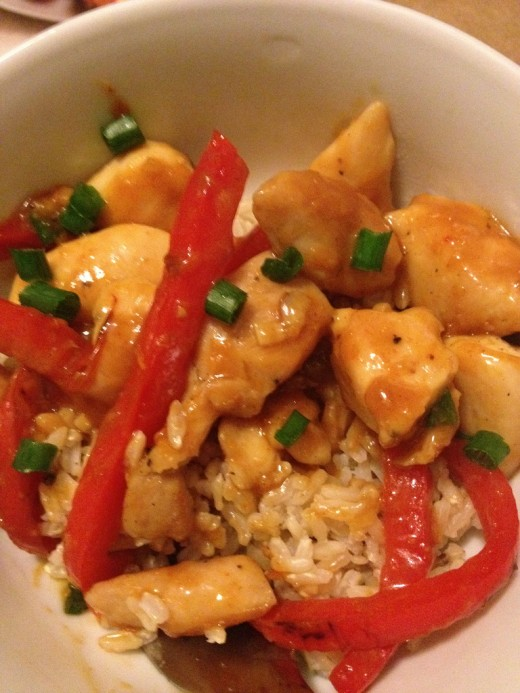 Hoisin Sauce Chicken Stir-Fried with Red Bell Pepper