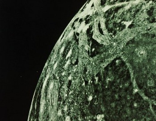 Ganymede is the biggest among Galilean satellites. Diameter=5262km, period=7.1d.