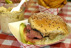 Roast Beef on Weck with Horse radish and a sliced dill pickle!!   Simply delicious!