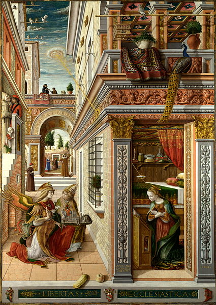 Annunciation with St Emidius, oil on wood transferred to canvas, 207 x 146,5 cm, National Gallery, London