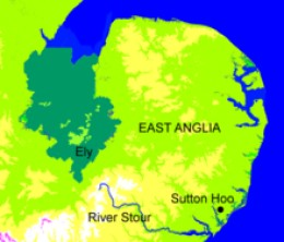 East Anglia with Ely left of centre in the south of the area marked in dark green.