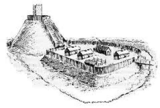 A wood-built motte and bailey castle of the type thrown up at Grantchester (Cambridge) by William on his return to London from the North in 1068, Huntingdon to the west of the region was built to this pattern.