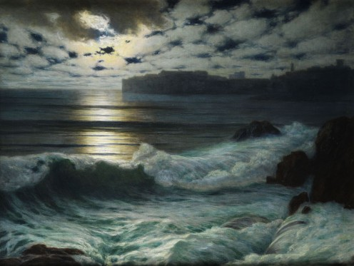 By Eduard Kasparides - Seascape in the Moonlight, though not sure if that is the exact name.
